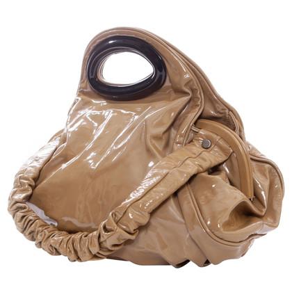 Marni sacchetto di cuoio di vernice grande taupe