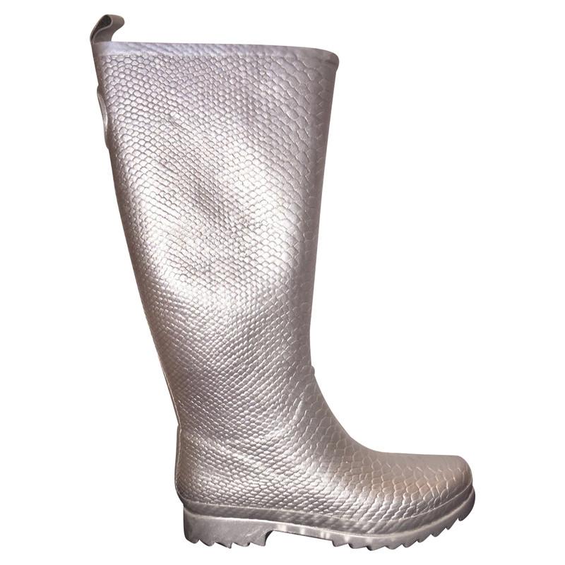 Stuart Weitzman Silver rubber boots