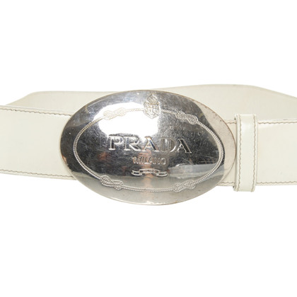 Prada Leather Belt in cream