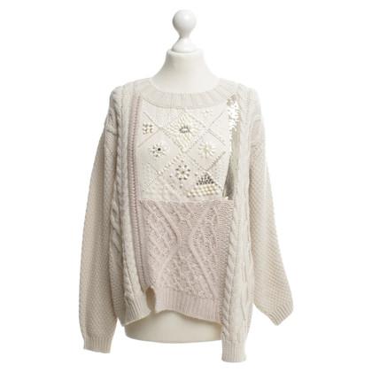 Twin-Set Simona Barbieri Pull tricoté en crème blanche