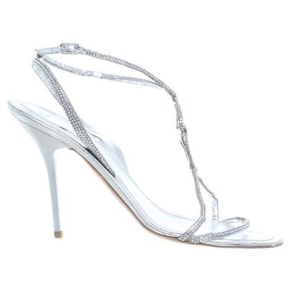 René Caovilla Silberfarbene Sandaletten