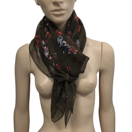 Alexander McQueen Zijden sjaal met schedelpatroon