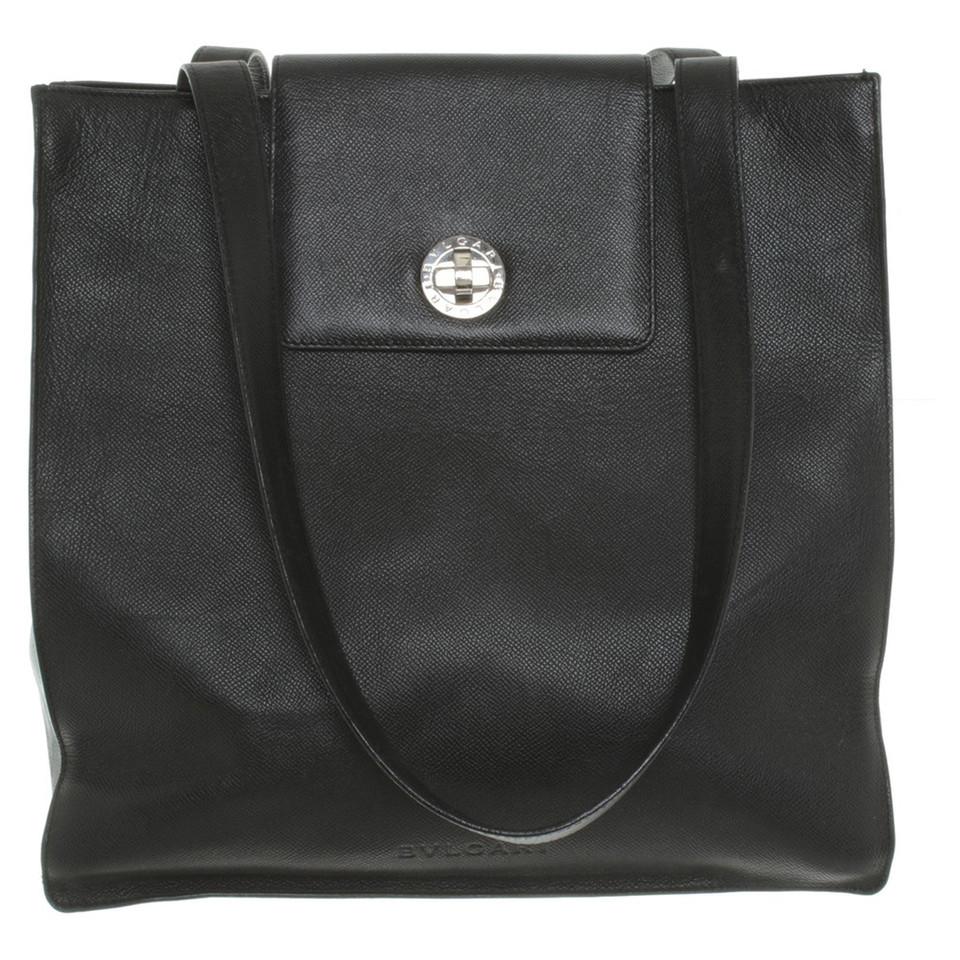 bulgari tote bag aus leder second hand bulgari tote bag. Black Bedroom Furniture Sets. Home Design Ideas