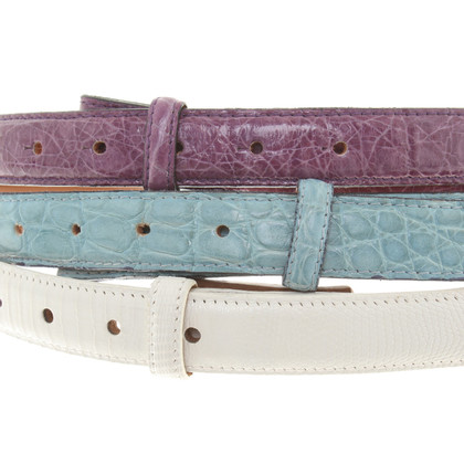Fausto Colato Leather Belt Set
