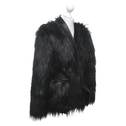 Balmain X H&M Faux fur jacket in black / green