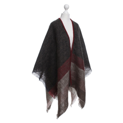 Stefanel Poncho in Black / Red