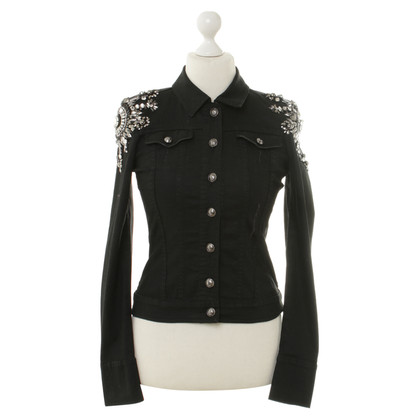 Philipp Plein Denim jacket with Rhinestone trim