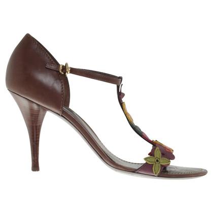 Louis Vuitton Sandalen met bloemen lederen riemen
