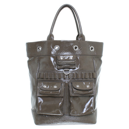 Pollini Patent leather shoulder bag in olive
