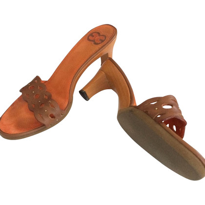 Escada Wooden mules with leather belt
