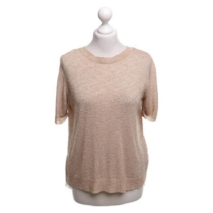 Patrizia Pepe Gebreid shirt in lichtbruin / crème