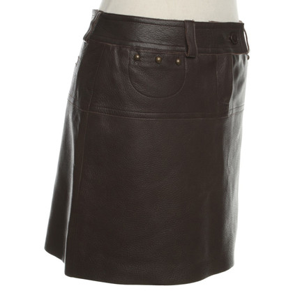 Chloé Leather skirt in dark brown