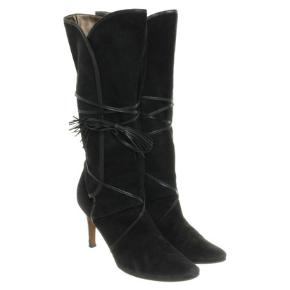 Max Mara Suede boots with tie detail