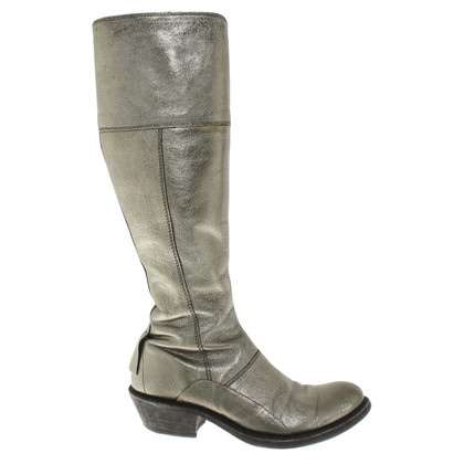 Marithé et Francois Girbaud Leather boots with metallic effect
