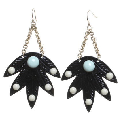 Lulu Frost Earrings with leaf pendants