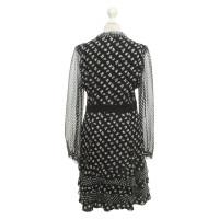 Diane von Furstenberg Robe en soie en noir et blanc
