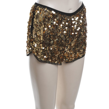 Anna Sui short pailletés en or
