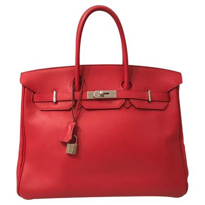 Hermès Birkin 35 rouge avec du matériel d'argent