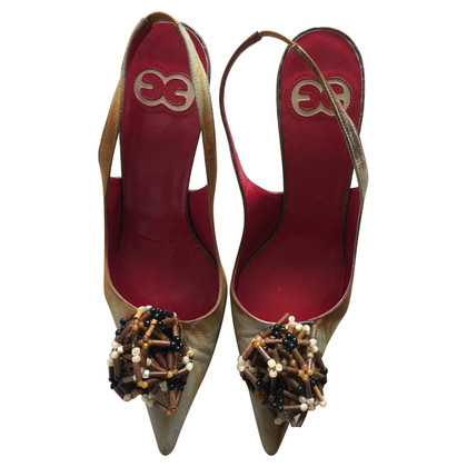 Escada Slingbacks in leather with jewelry detail