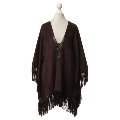 Hale Bob Poncho with fringes in Brown