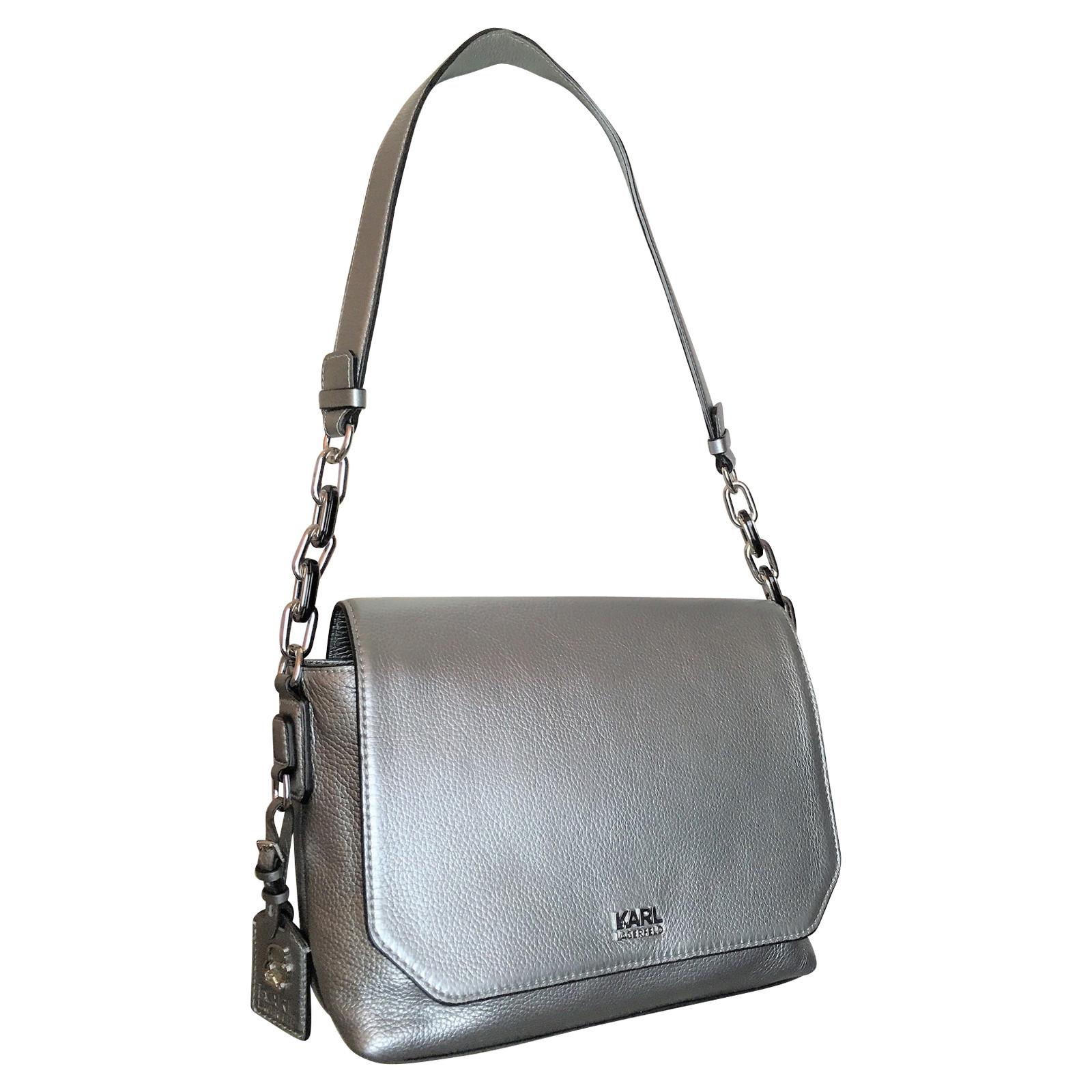 Karl Lagerfeld Handtasche aus Leder in Silbern Second Hand