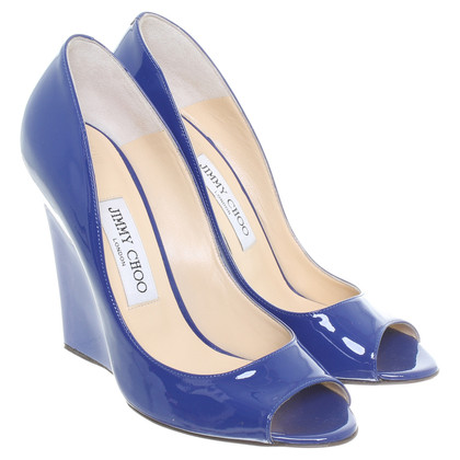 Jimmy Choo Peeptoe Wedges in blauw