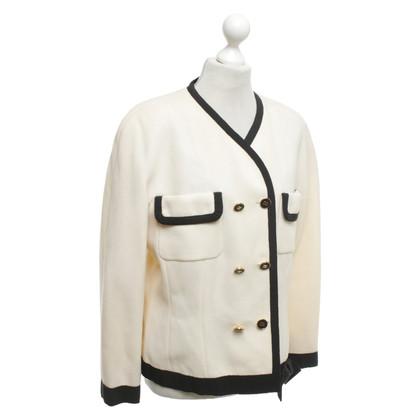 Chanel Blazer met dubbele rij knopen in beige / zwart