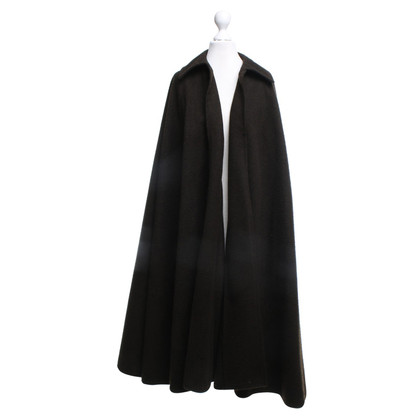 Saint Laurent Long Cape in dark brown