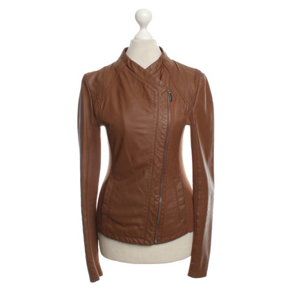 Pinko Leather jacket with fabric inserts