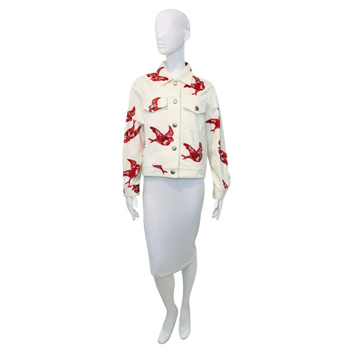 Miu Miu Jacket Coat in White - Second Hand Miu Miu Jacket Coat in ... 06490af966