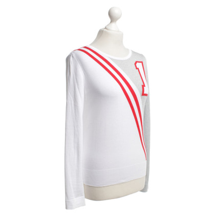Moschino Pull maille fine Blanc / Argent