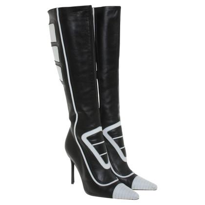 Dolce & Gabbana Leder-Stiefel in Schwarz/Weiß