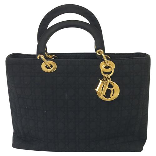8213f657638c8 Christian Dior Handbag Canvas in Black - Second Hand Christian Dior ...