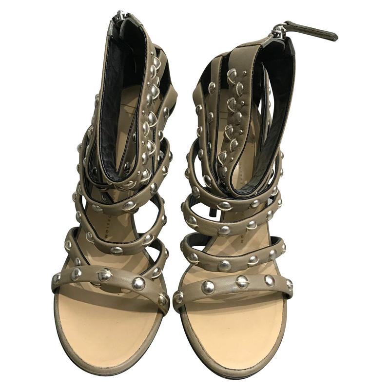 Balmain Sandals Leather in Beige