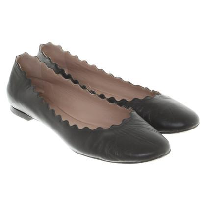 Chloé Leer Ballerina's in zwart