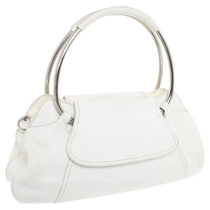 Prada Rundbügel-Handtasche in Cremeweiß