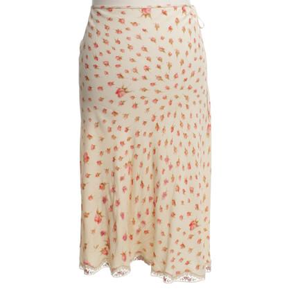 Blumarine jupe en soie avec un motif floral