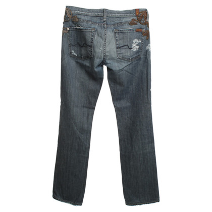7 For All Mankind Destroyed Jeans with skulls