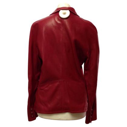 Giorgio Armani Lederen jas in het rood
