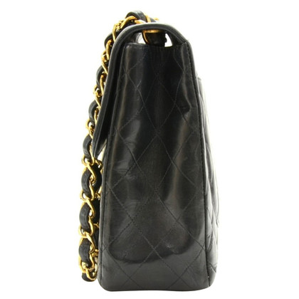 """Chanel 12"""" Jumbo Black Quilted Leather Flap Bag"""