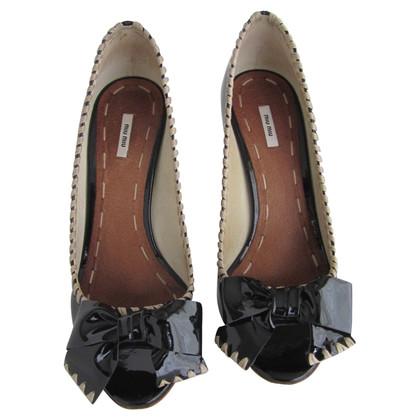 Miu Miu Black patent leather peeptoe pumps