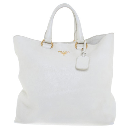 Prada Shoppers with shoulder straps in cream