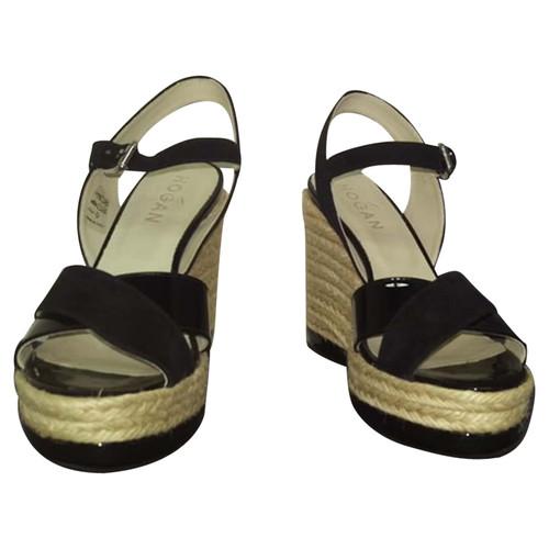 efe4479d69a Hogan Sandals Suede in Black - Second Hand Hogan Sandals Suede in ...