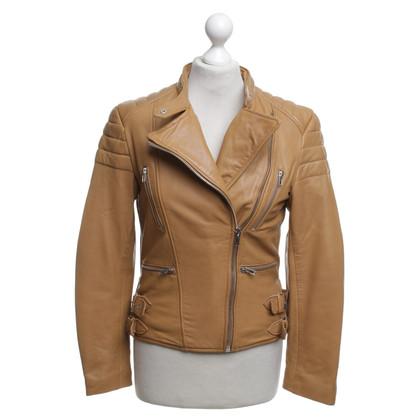 Ash Leather jacket in ocher