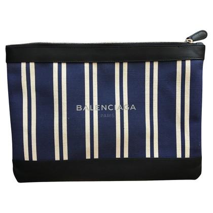 Balenciaga Pochette en toile rayée garni de cuir
