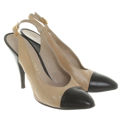 Chanel Slingbacks in Beige/Schwarz