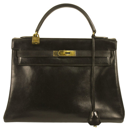 Hermès Kelly 32 Black Box Calf Leather