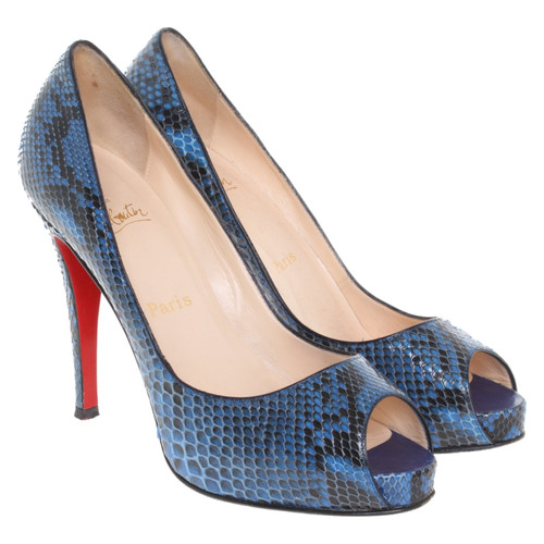 buy popular 5ba8b 6d1a3 Christian Louboutin Snake leather peep-toes - Second Hand ...