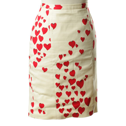 Moschino Cheap and Chic Cream skirt with heart pattern