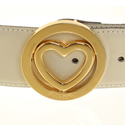 Moschino Leather belt in cream white